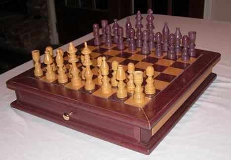Purpleheart Chess Set by Jeff S  of Louisiana  other wood is Yellowheart. purpleheart and yellowheart chess set jpg