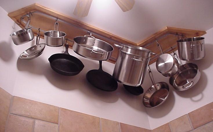 wooden pot rack