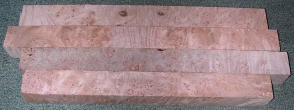 Maple Burl pool cue blanks